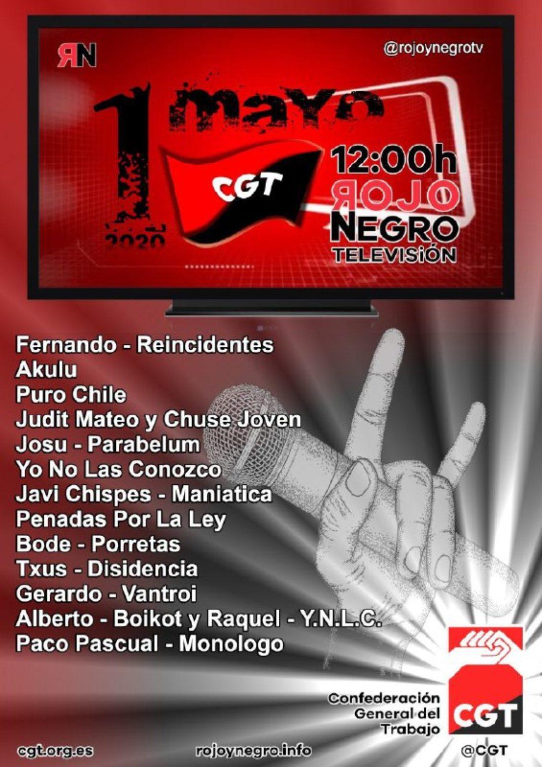 CGT realizará un concierto virtual a través de Rojo y Negro Televisión para conmemorar el 1º de Mayo