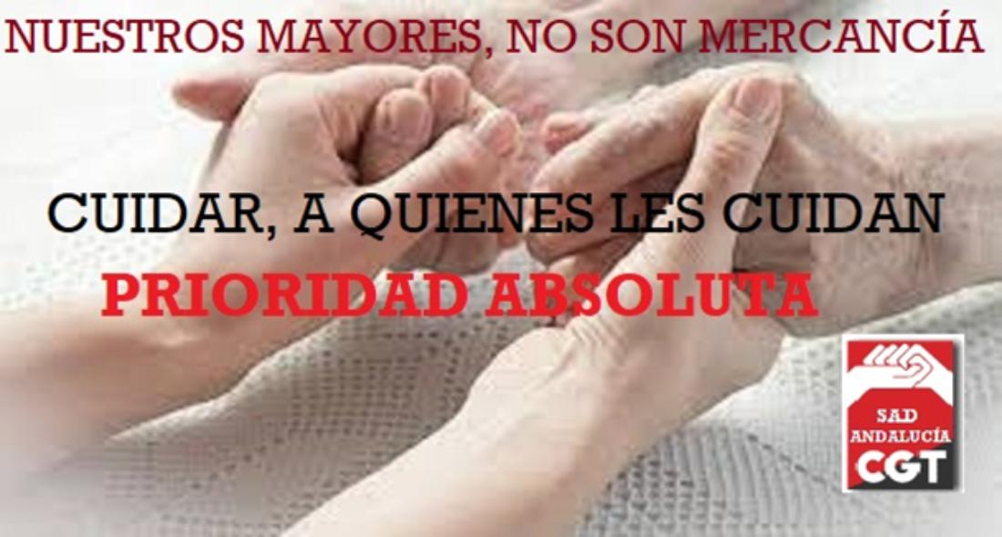 CGT exige a la Junta de Andalucía la realización de test de detección del COVID19 a todas las personas que trabajan en Ayuda a Domicilio y la retirada del acuerdo del Consejo de Gobierno del 30 de marzo en lo referente a este colectivo