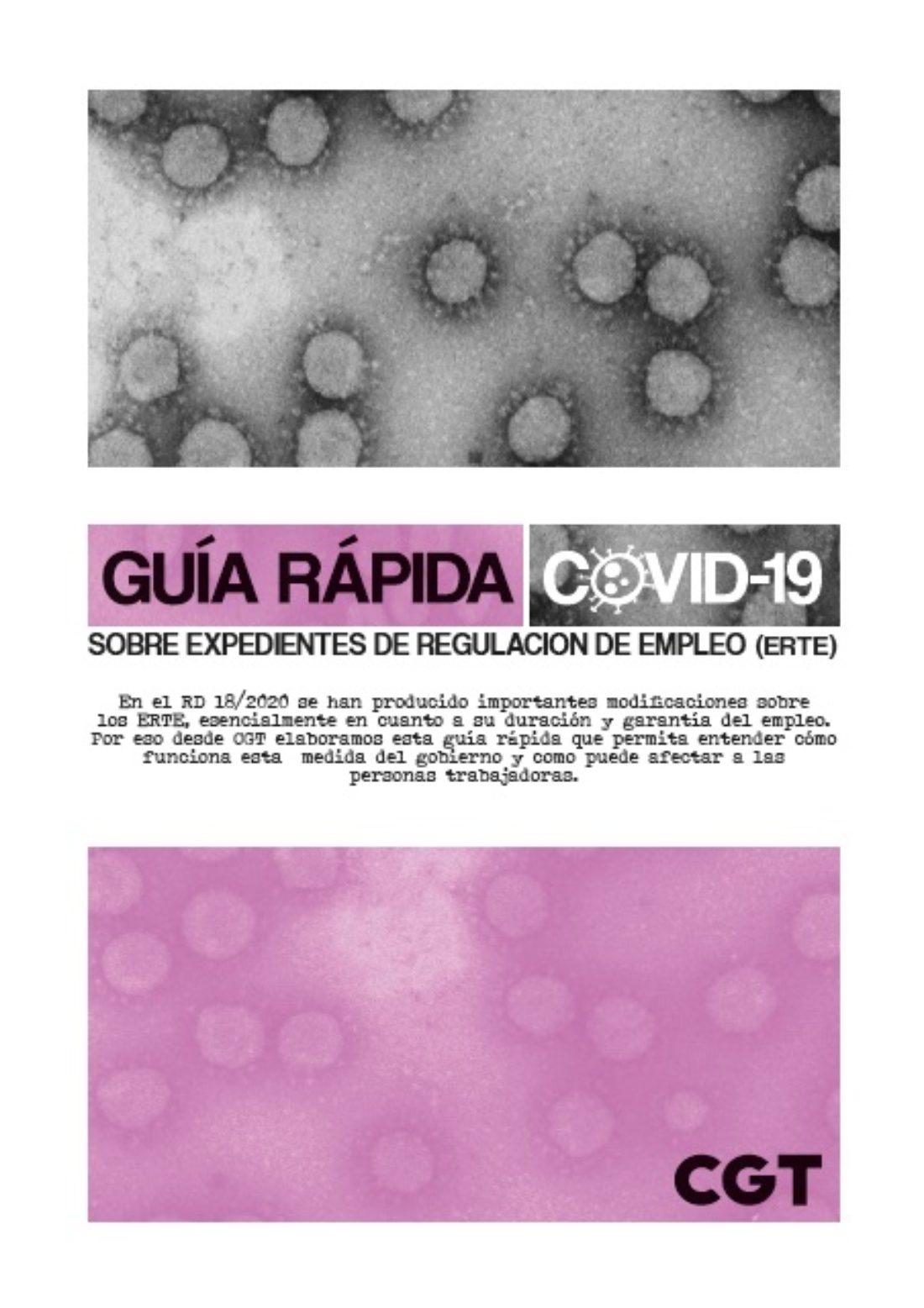 CGT ha editado la Guía rápida COVID-19 sobre los ERTE