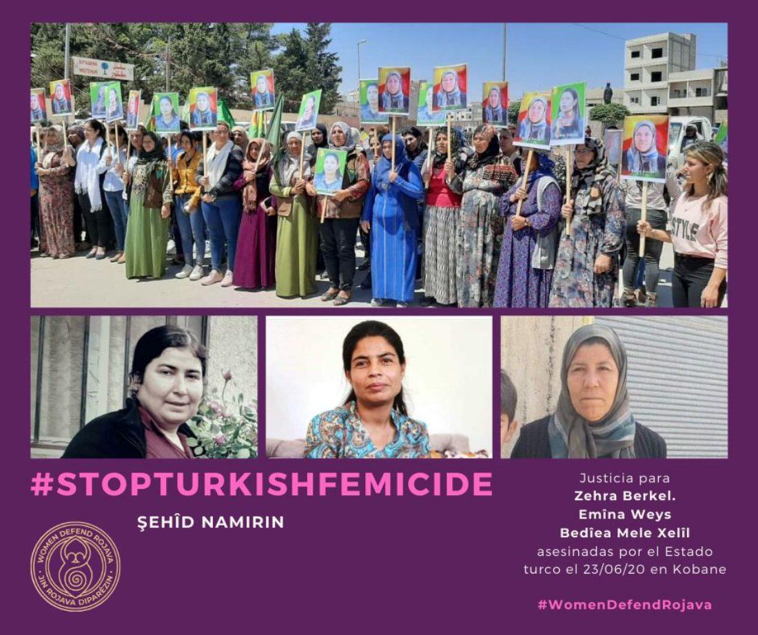 CGT condena y rechaza los asesinatos de las compañeras en lucha por parte de Turquía y señala el silencio cómplice de la Comunidad Internacional