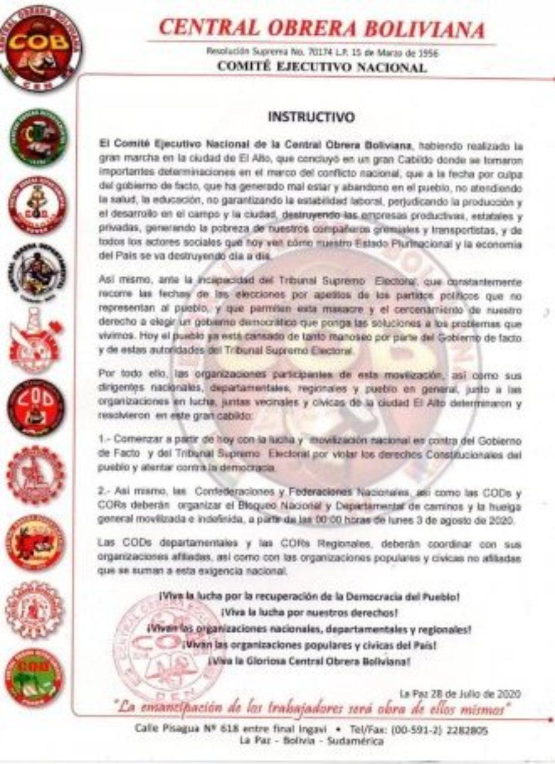 Huelga general en Bolivia