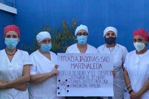 Acampada ante el Ayuntamiento de Marinaleda, tras el primer día de huelga