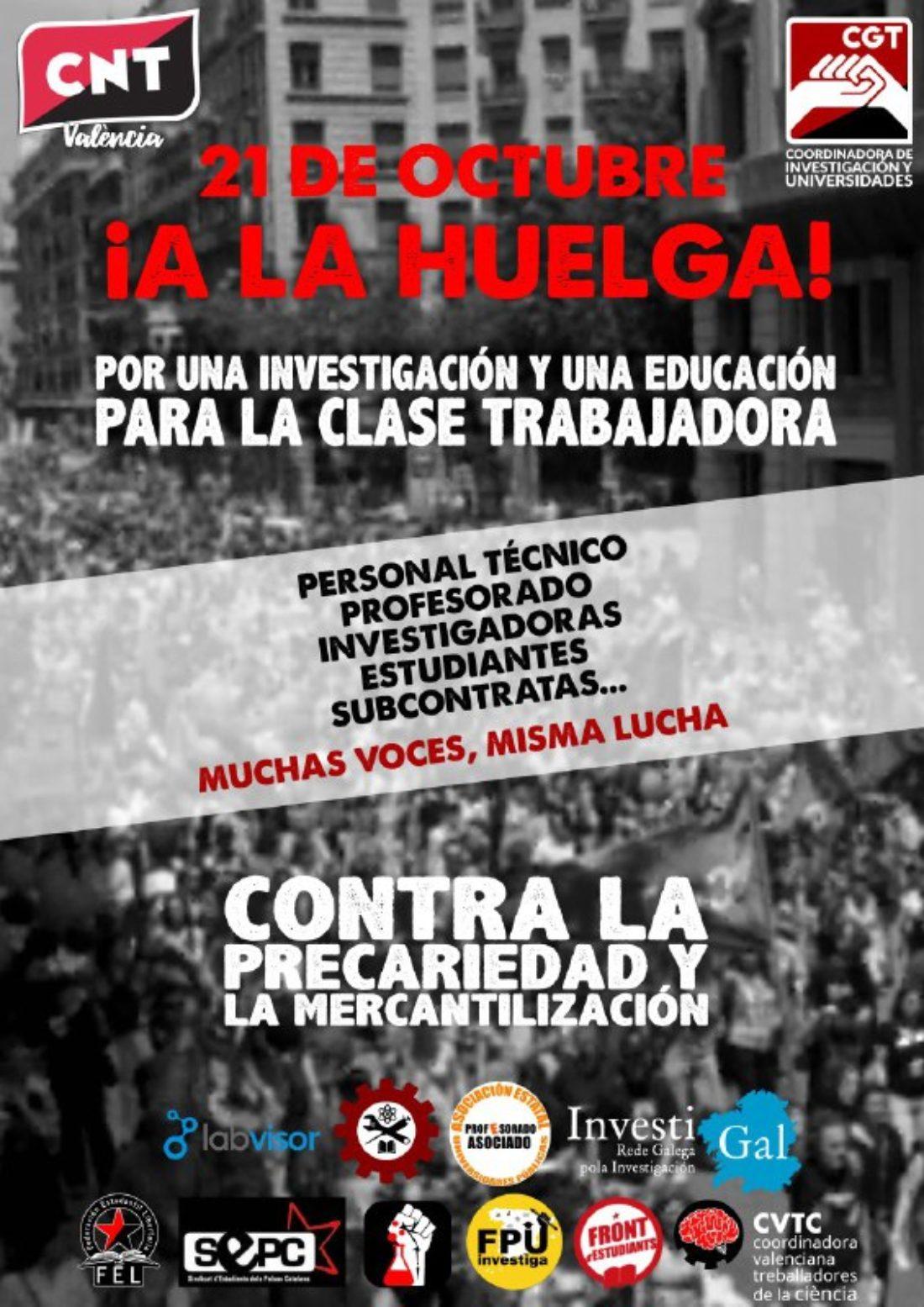 Convocatoria de Huelga en Universidades y Centros de Investigación de todo el Estado para el 21 de octubre