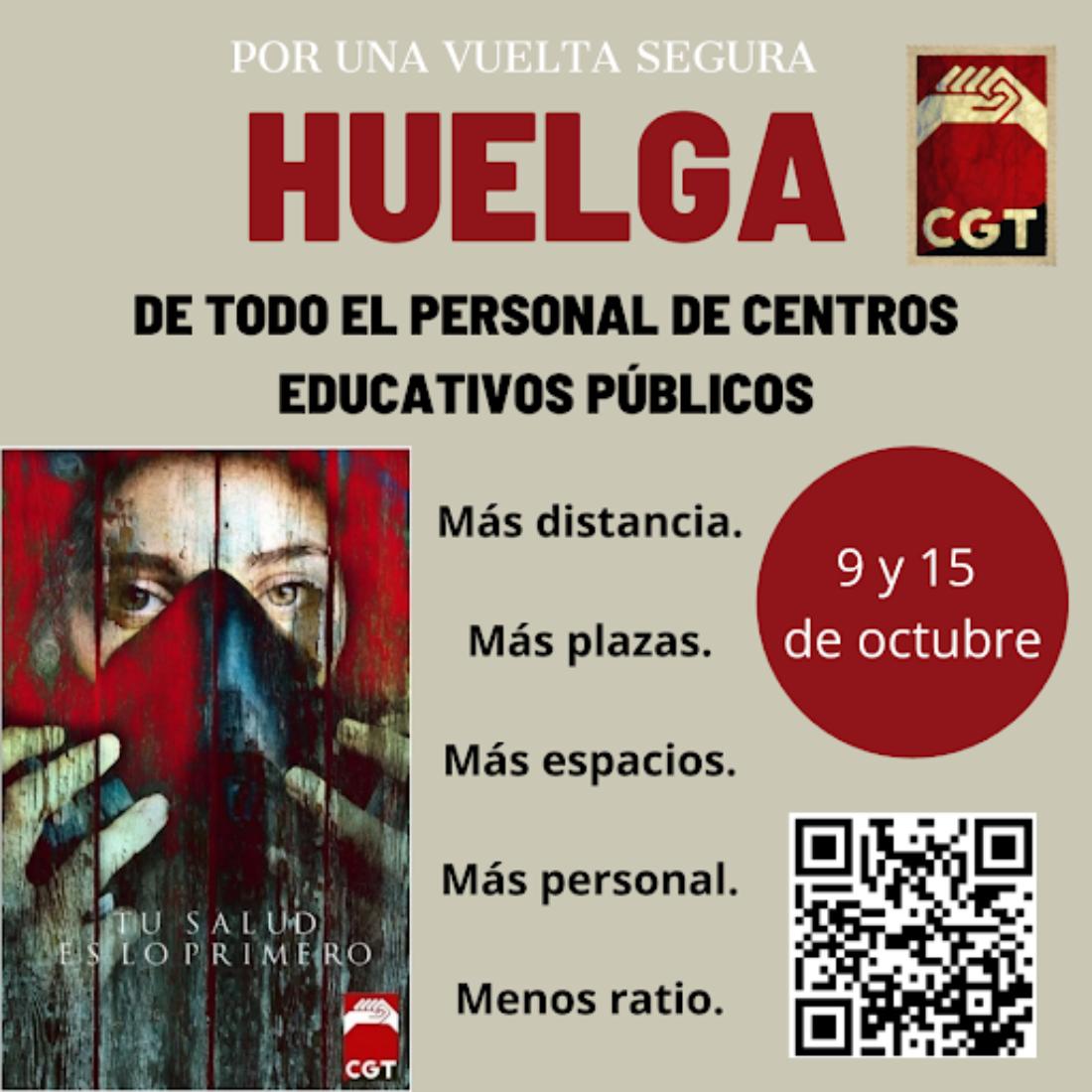 CGT anuncia huelga educativa los días 9 y 15 de octubre