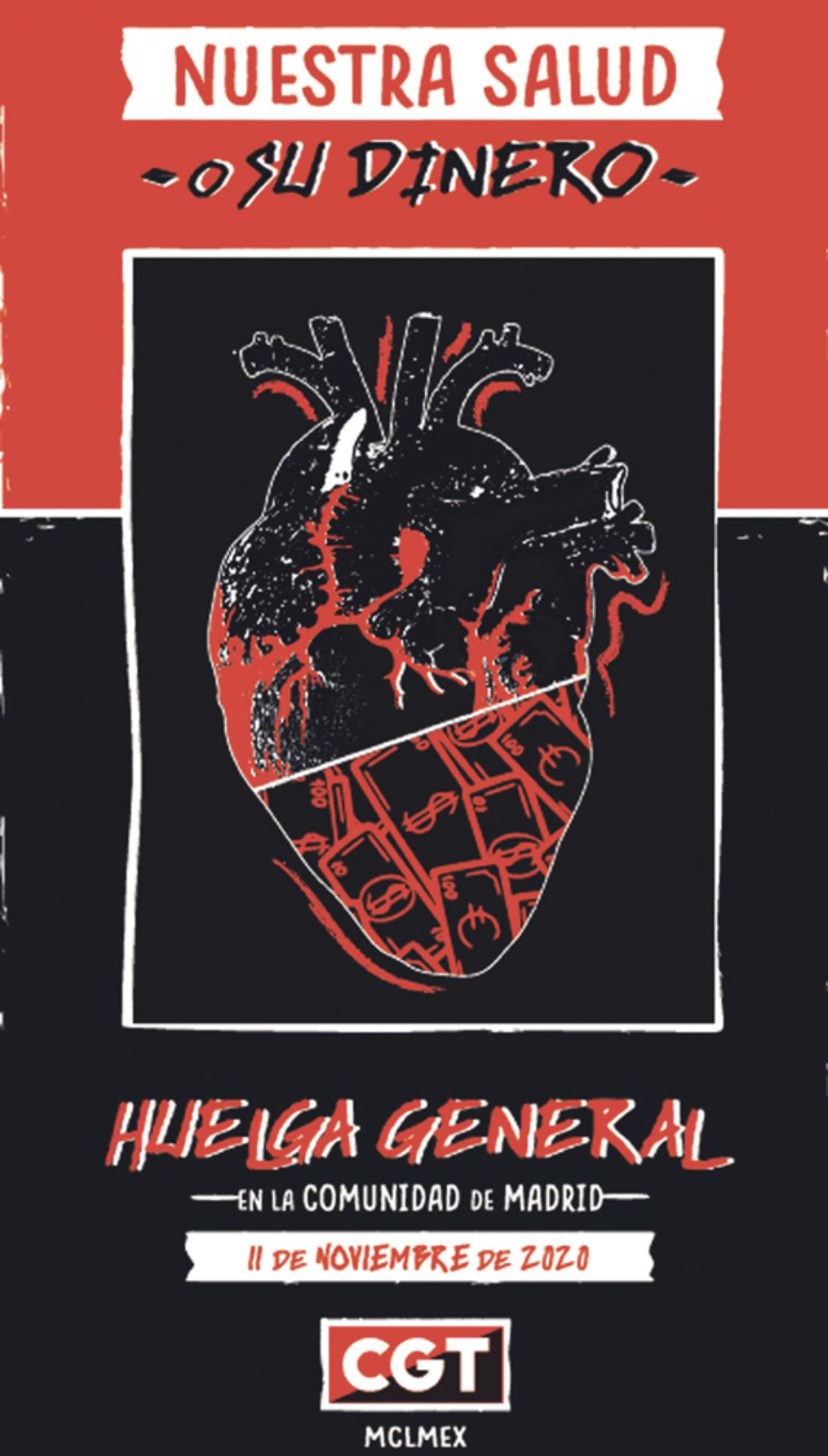 Colectivos sociales y organizaciones sindicales exponen las razones para ir a la Huelga General este 11 de noviembre en Madrid