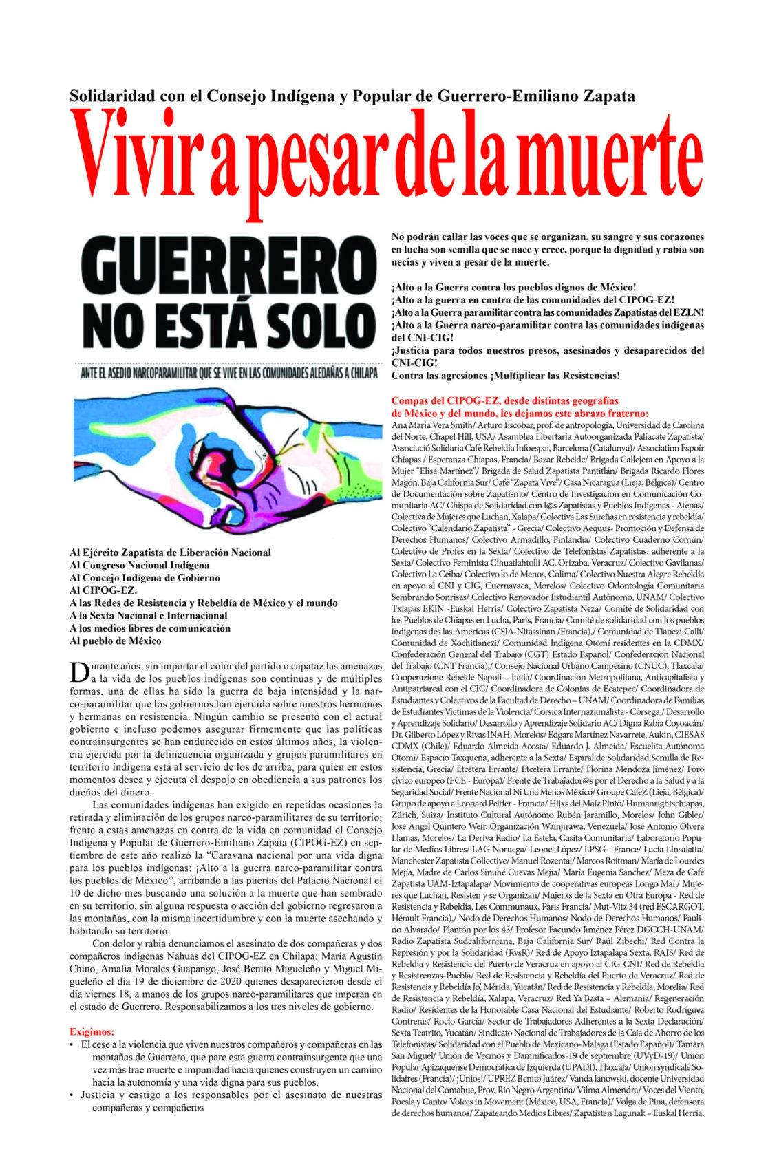 Vivir a pesar de la muerte. Guerrero no está solo
