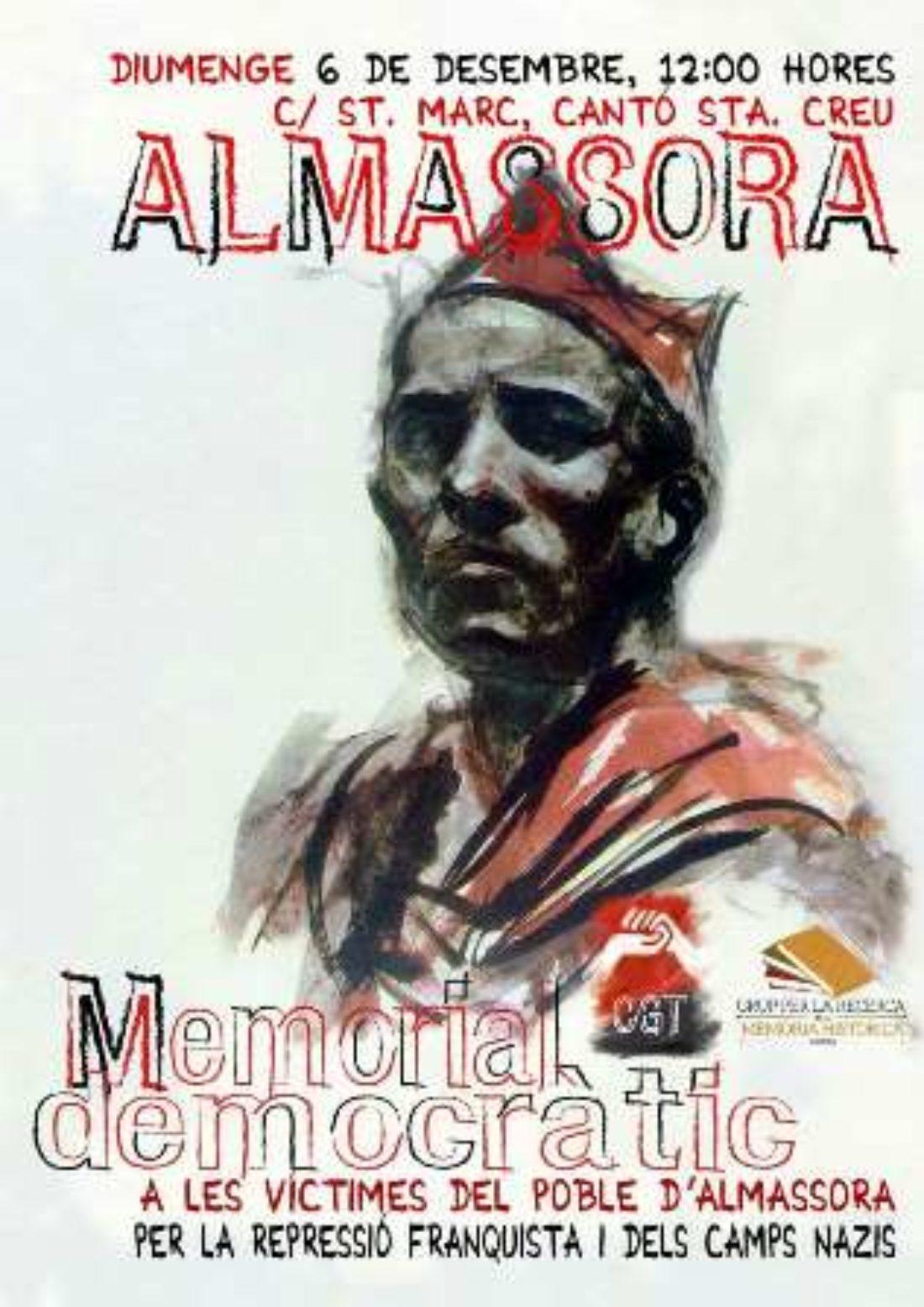 El Grup per la Recerca de la Memòria Històrica y CGT inaugurarán el Memorial Democrático de Almassora