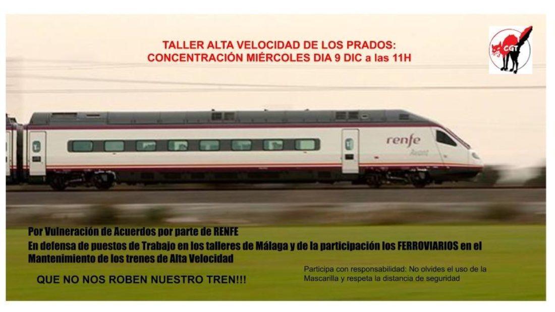 Concentración en defensa del mantenimiento de los trenes de alta velocidad en Málaga por personal de RENFE