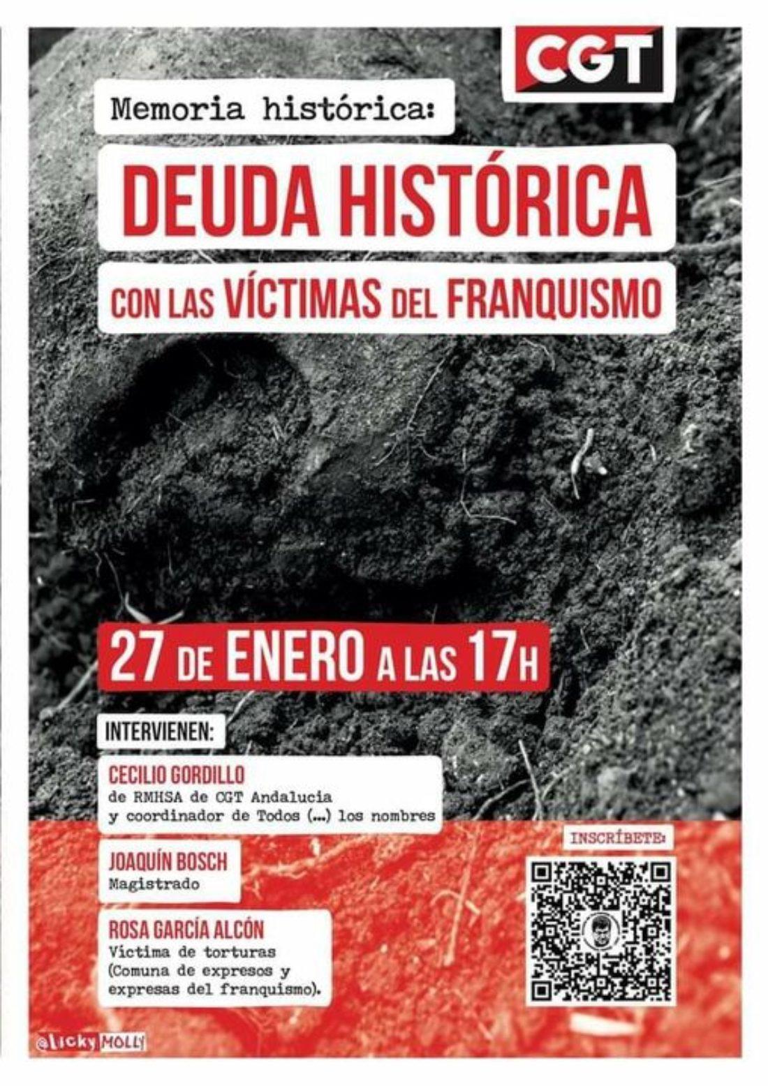 27-E: Jornada formativa «Memoria Histórica: Deuda histórica con las víctimas del franquismo»