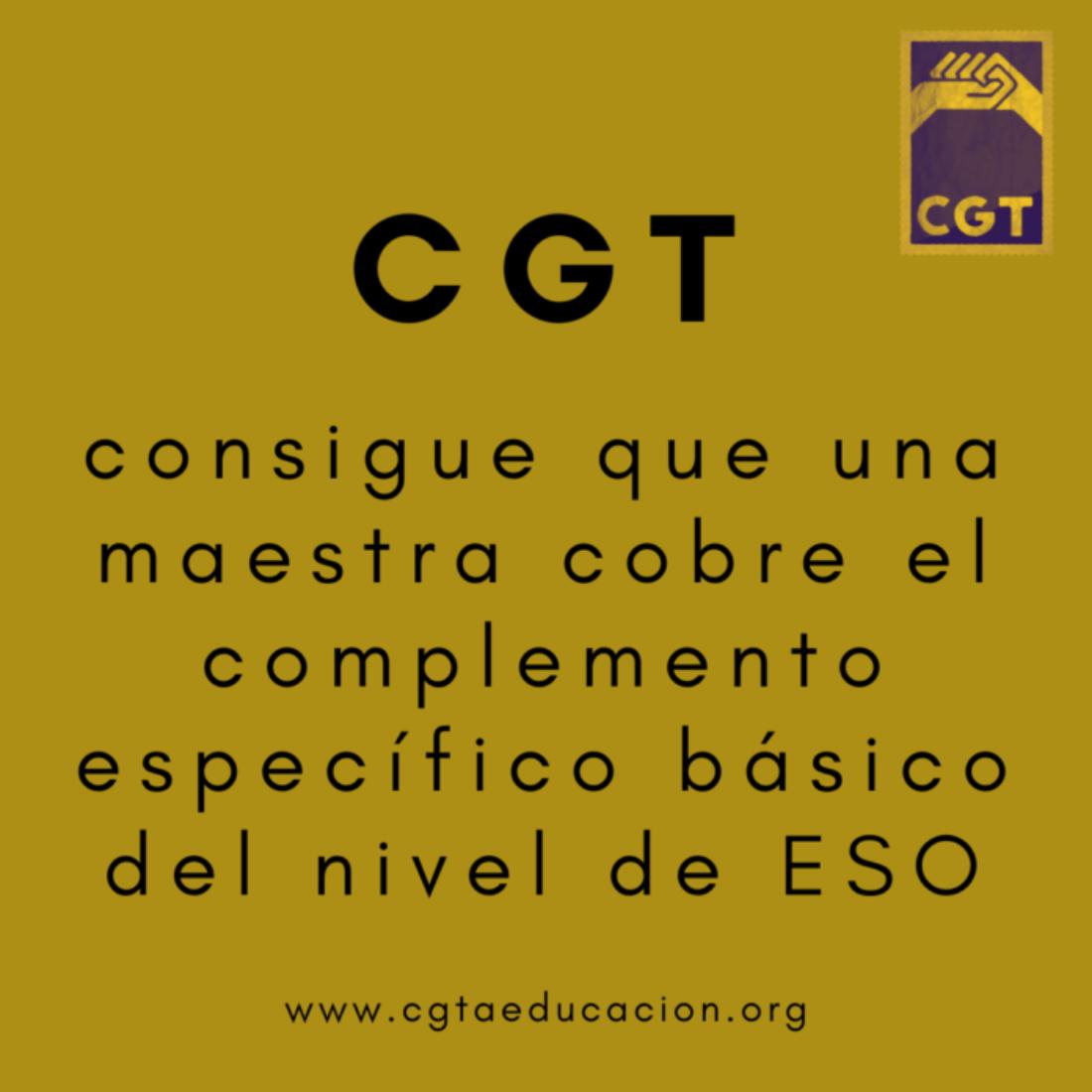 CGT consigue que una maestra cobre el complemento específico básico del nivel de ESO
