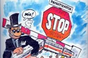 Concentración de repulsa contra las privatizaciones de servicios ferroviarios en los talleres de RENFE en Málaga y las puertas giratorias