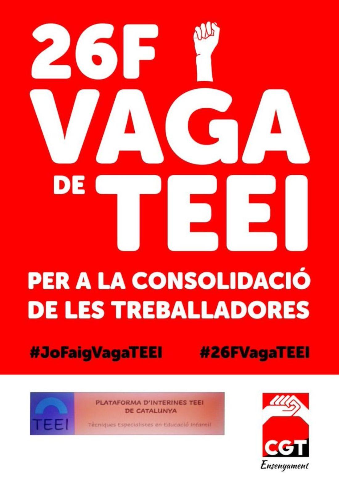 El sindicato CGT Ensenyament junto con la Plataforma d´Interines TEEI convocan la primera huelga TEEI para el viernes 26 de febrero