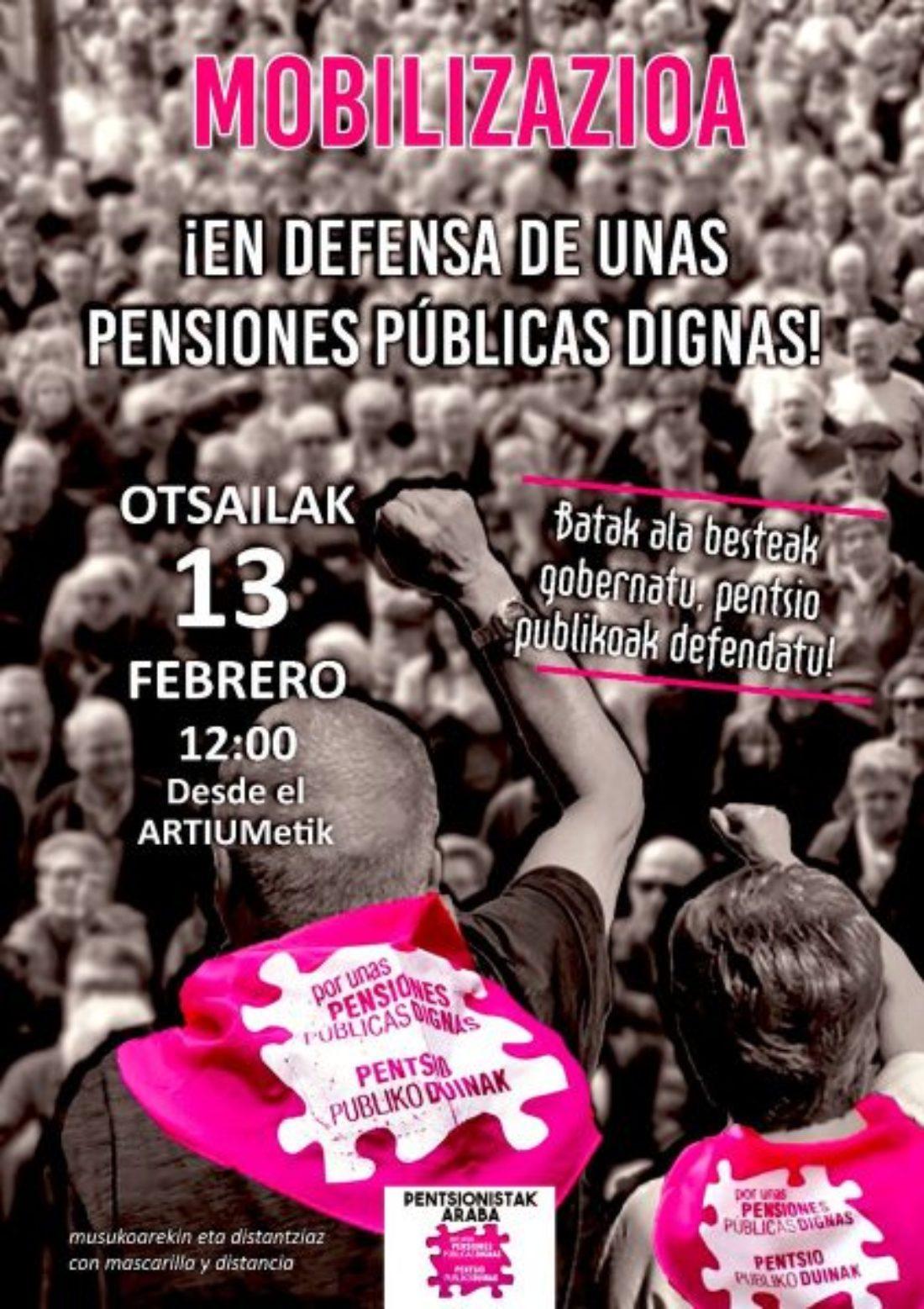 CGT-LKN hace un llamamiento a participar en las manifestaciones del 13 de febrero contra la privatización de las pensiones