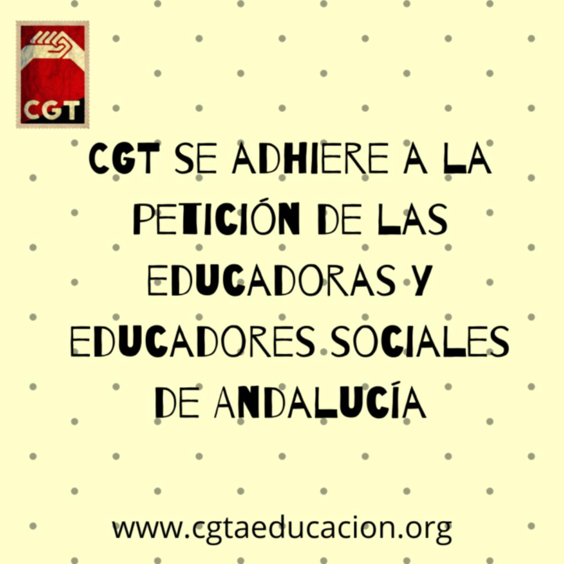CGT se adhiere a la petición de las educadoras y educadores sociales de Andalucía