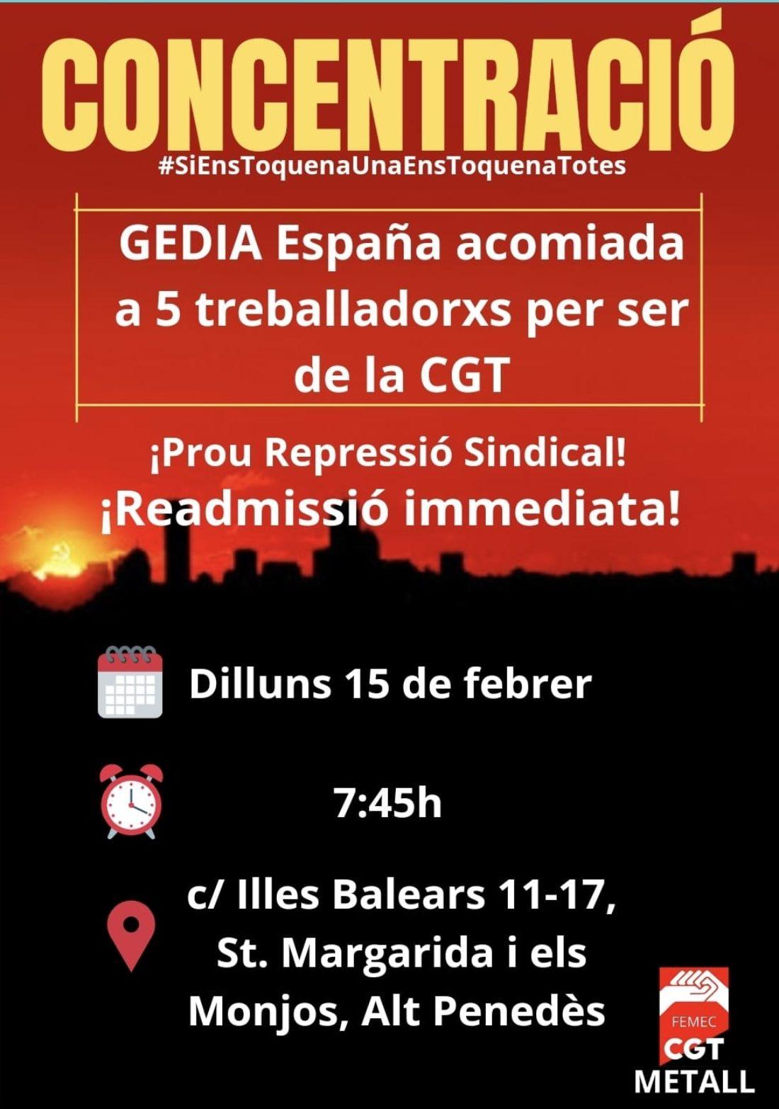 15-F: Concentración contra los despidos en la empresa Gedia