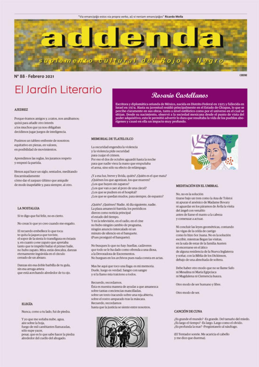 Addenda, suplemento cultural del RyN – Nº 88, febrero 2021