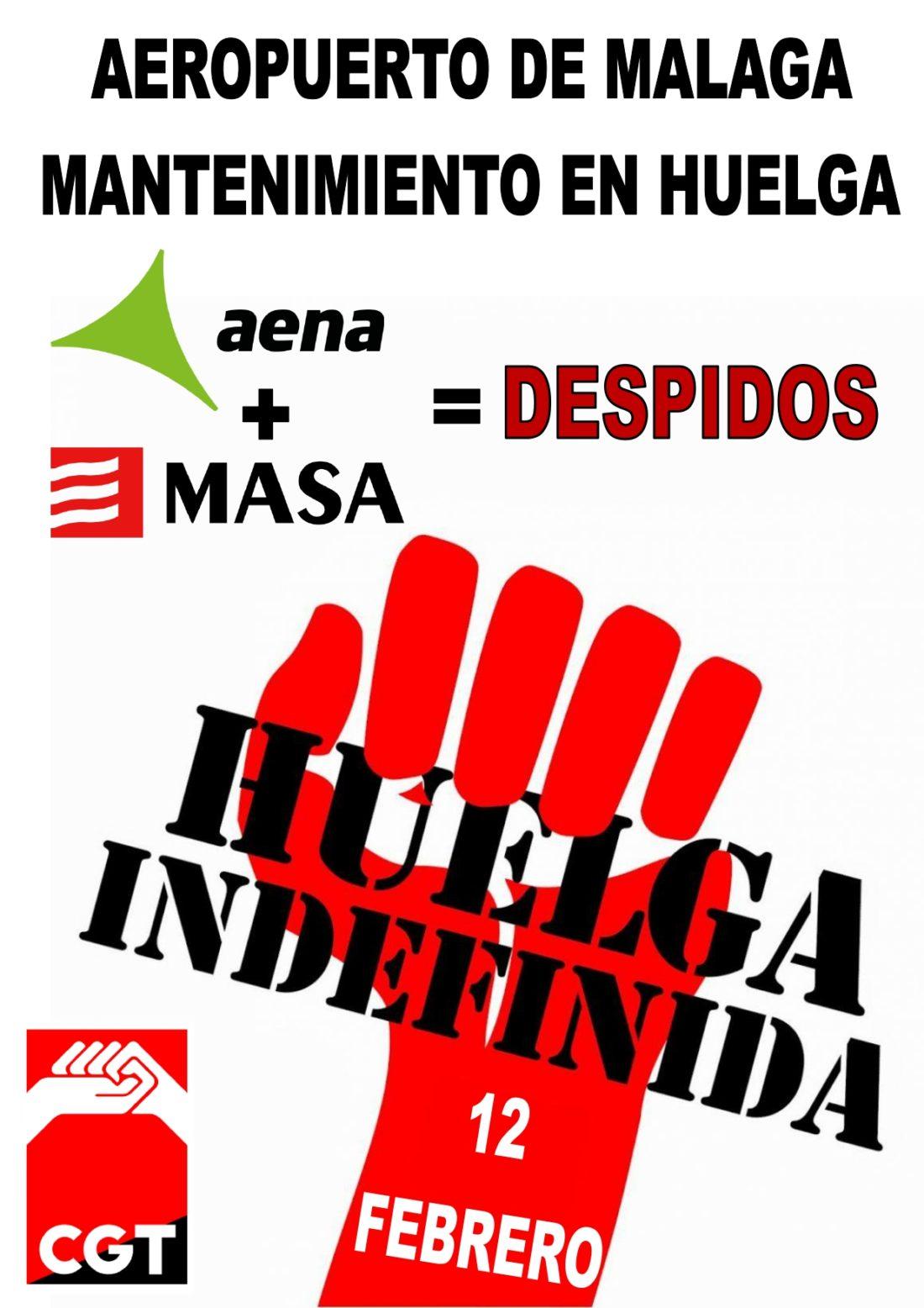CGT convoca huelga indefinida en el servicio de mantenimiento del aeropuerto de Málaga