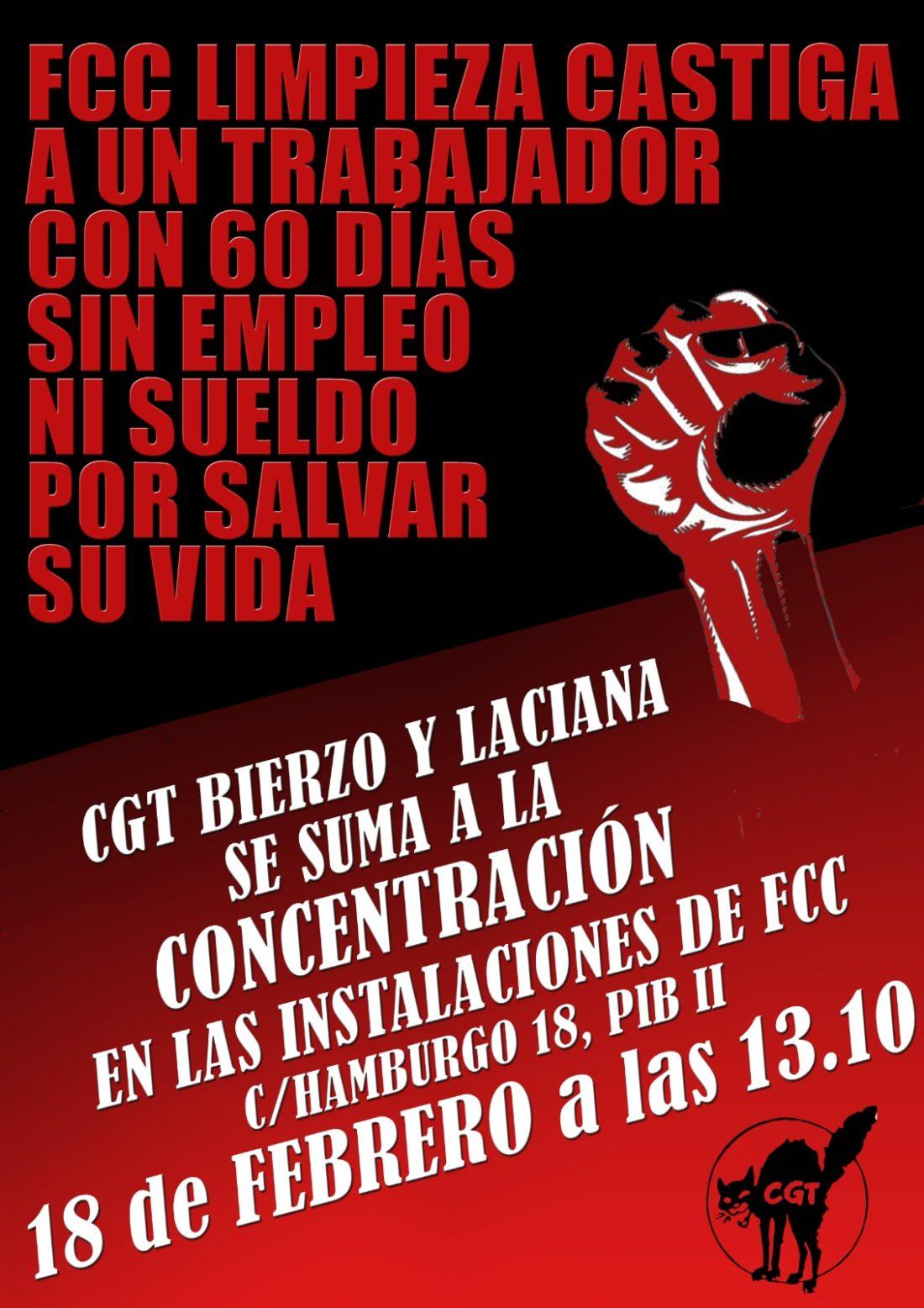 CGT Ponferrada convoca una concentración en señal de protesta por la sanción impuesta en FCC. DESCONVOCADA