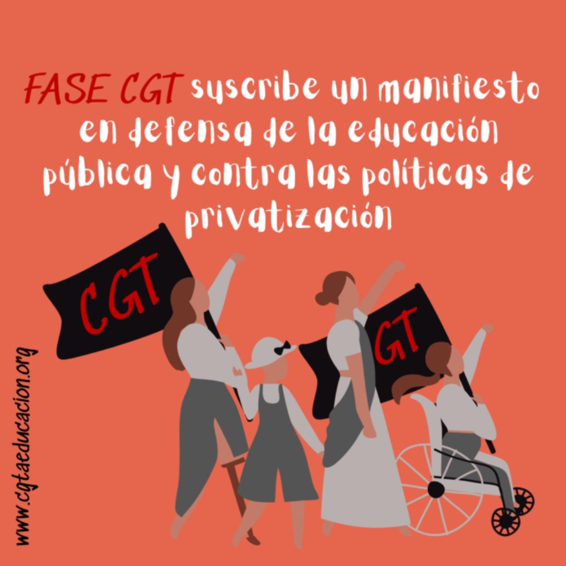 FASE CGT suscribe un manifiesto en defensa de la educación pública y contra las políticas de privatización