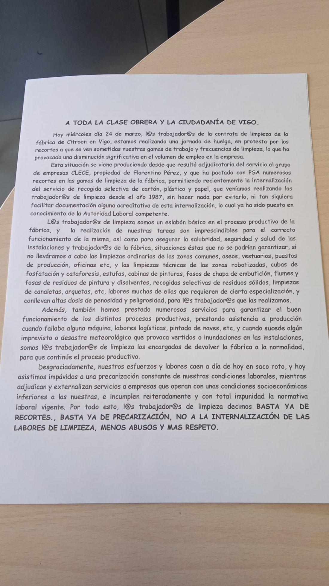 CGT convoca huelga de 24 horas en CLECE-Samain de Citroën de Vigo