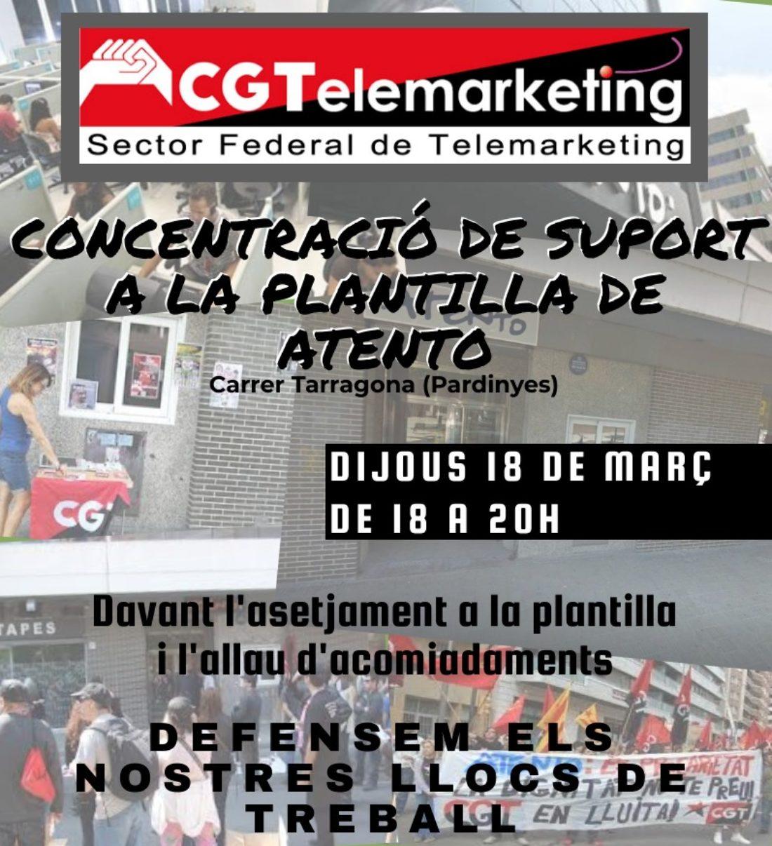 Basta de abusos y represión en Atento. Concentración de apoyo con los y las trabajadoras despedidas en Atento Lleida