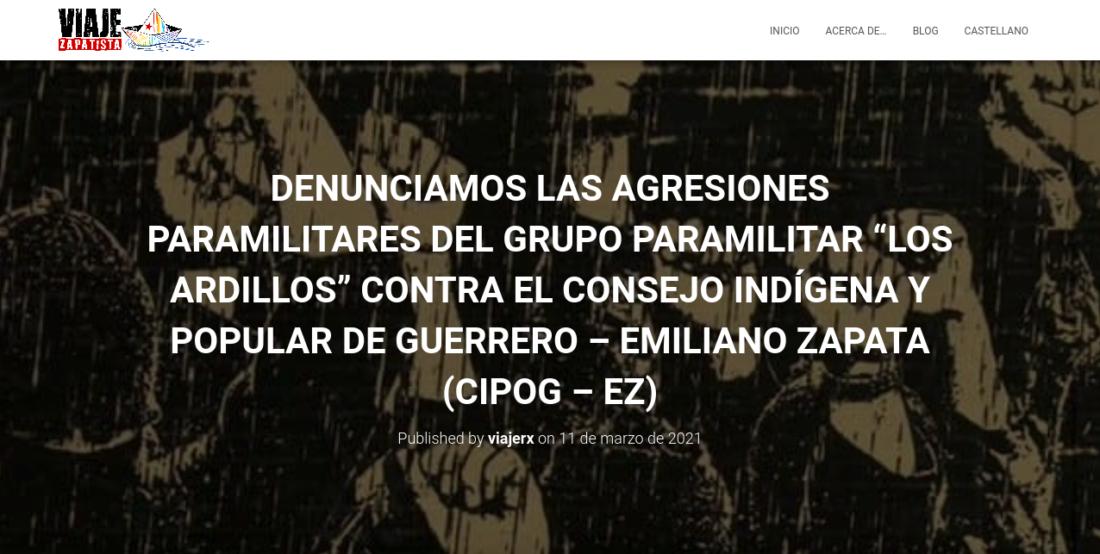 Denunciamos las agresiones paramilitares del grupo paramilitar «Los Ardillos» contra el Consejo Indígena y Popular de Guerrero-Emiliano Zapata (CIPOG-EZ)