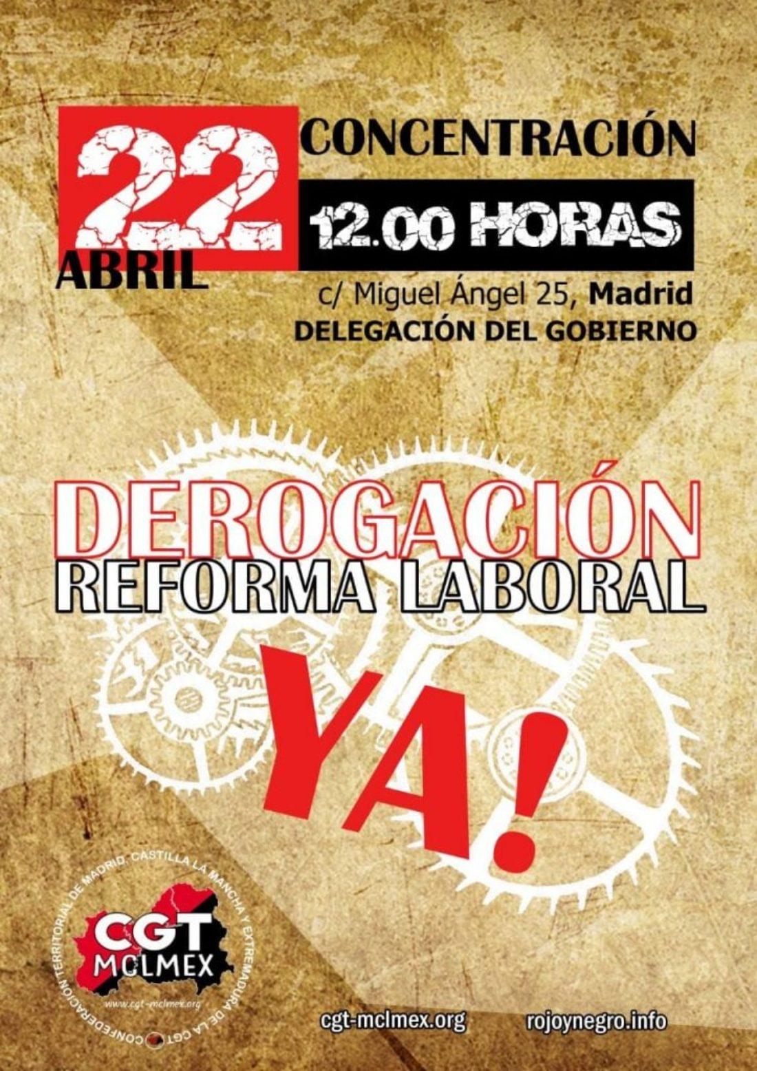 Concentración por la derogación de la Reforma Laboral en Madrid