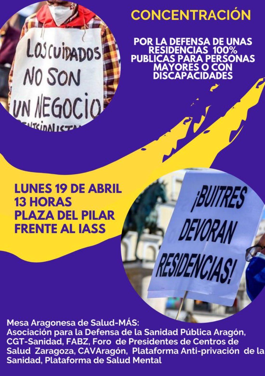Concentración en defensa de las residencias públicas en Zaragoza