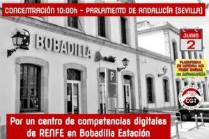 Bobadilla Estación y CGT van al Parlamento andaluz exigiendo un centro de competencias digitales de RENFE