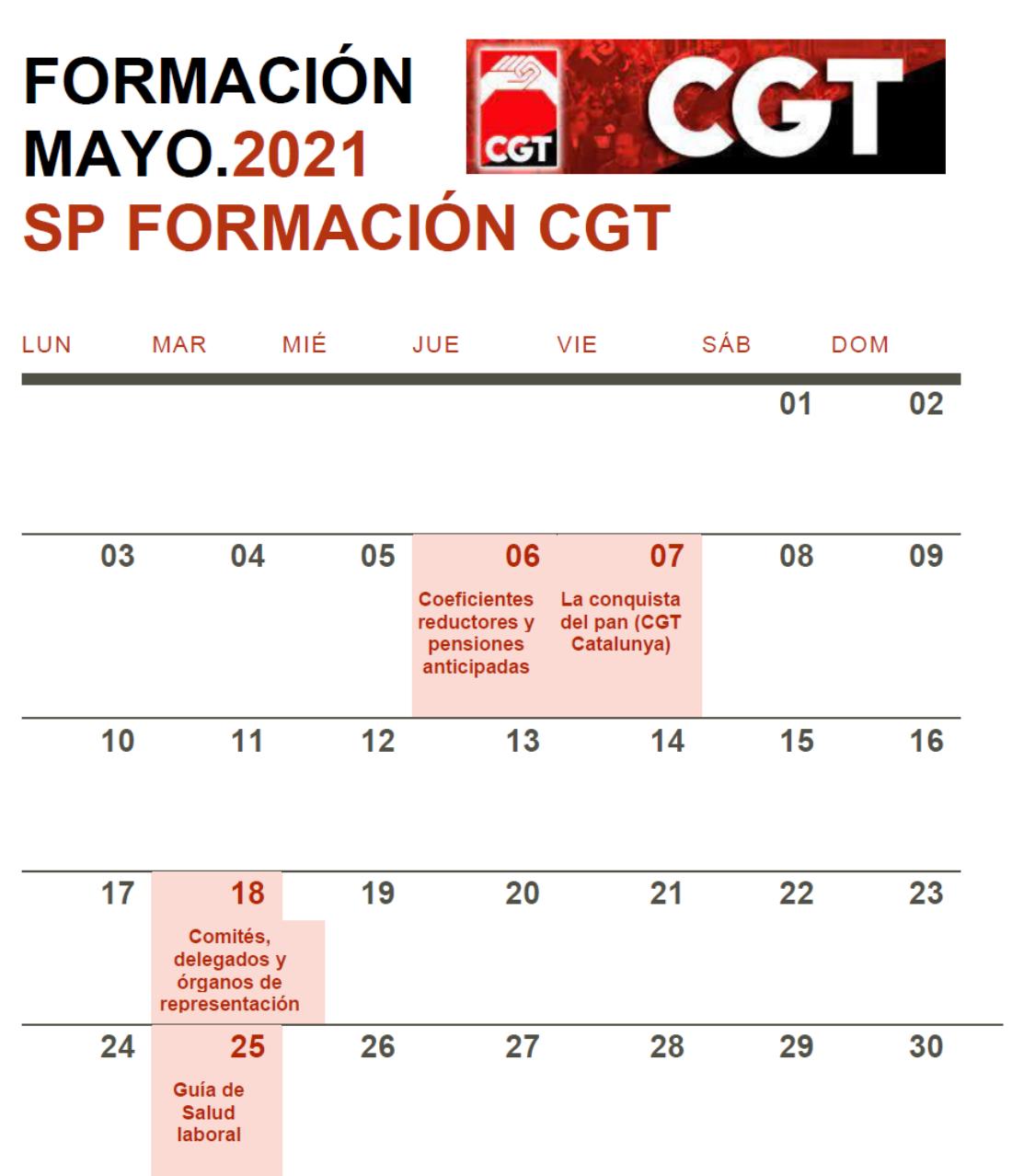 Cursos Formativos Secretaría Confederal Mayo