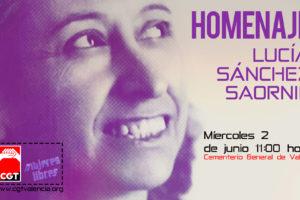 CGT realiza un homenaje a Lucía Sánchez Saornil, cofundadora de Mujeres Libres
