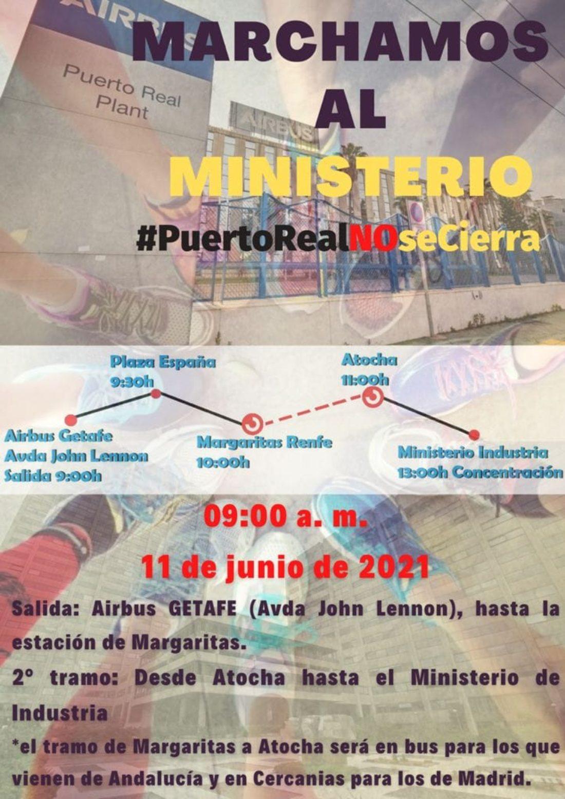 Marcha de las plantillas de Airbus al Ministerio de Industria contra el cierre del centro de Puerto Real