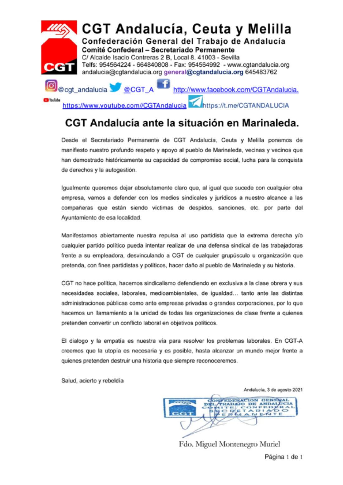 CGT Andalucía ante la situación en Marinaleda