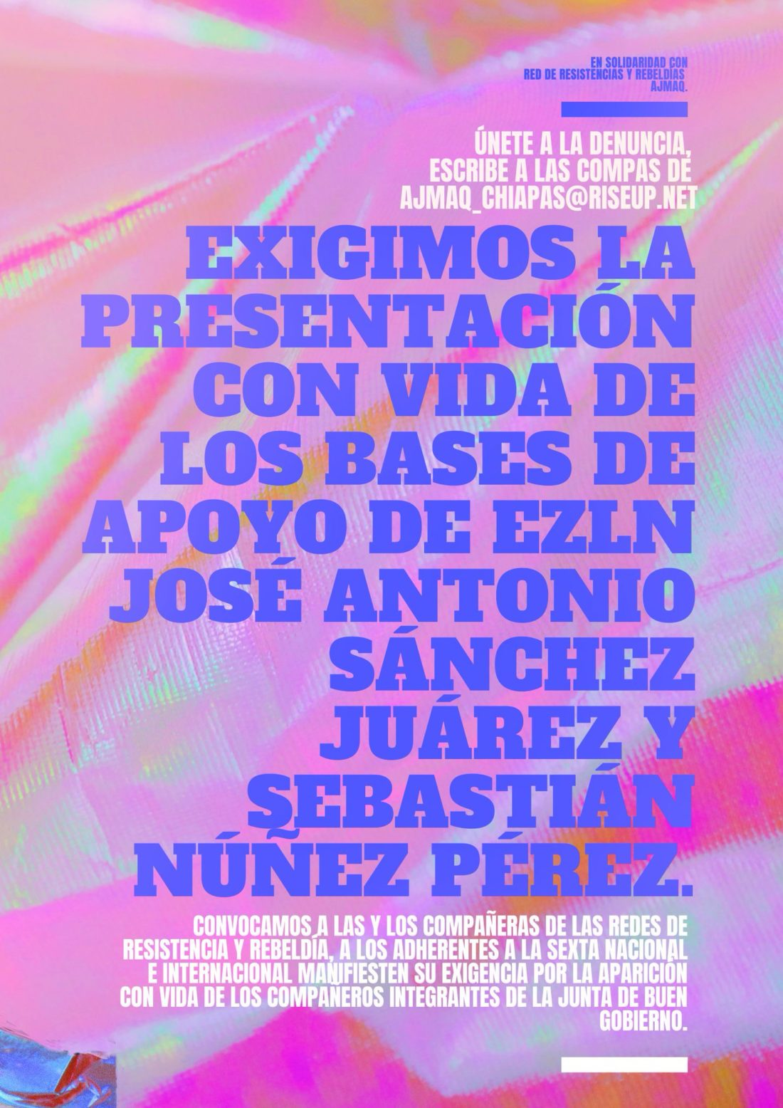 Presentación con vida de José Antonio Sánchez Juárez y Sebastián Núñez Pérez, bases de apoyo del EZLN (México)